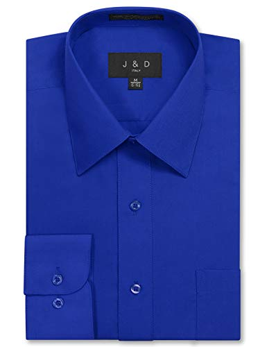 JD Apparel Men's Long Sleeve Regular Fit Solid Dress Shirt 18-18.5 N 36-37 S Royal Blue,XX-Large