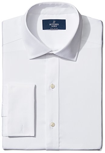 Buttoned-Down-Mens-Fitted-French-Cuff-Spread-Collar-Non-Iron-Dress-Shirt