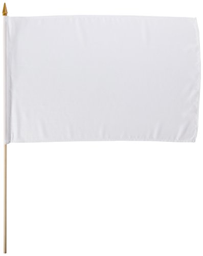 Quality Standard Flags STIBwhite One Dozen White Stick Flag, 12 by 18