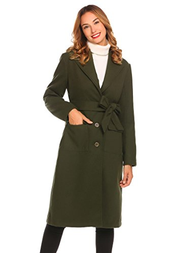 sholdnut Womens Notched Lapel Slim Fit Single Breasted Wool Blend Long Coat with Belt by sholdnut