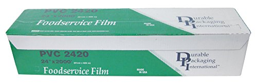 """Durable Packaging PVC2420 Cling Film Roll with Cutter Box, 24"""" Width x 2000' Length from Durable Packaging"""