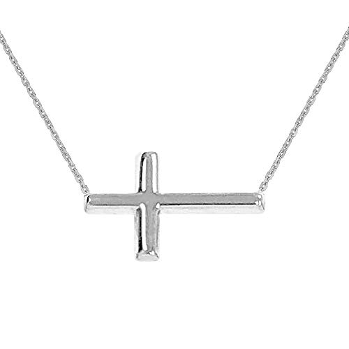 Ritastephens 14K White Gold Sideways Cross Necklace Adjustable Chain 16-18 - Necklace White Religious