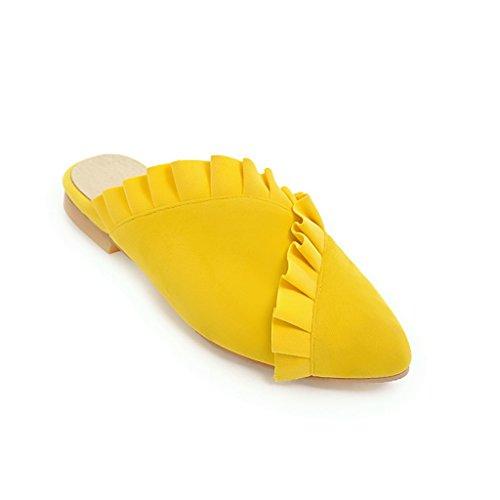 d'été Télévision Fait Volte a Face Volant Taille des Sandales Daim Yellow Grande Chaussures Femmes vRWnYZ5wqx