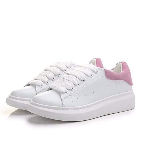 ZHZNVX Zapatos de Mujer Nappa Leather Summer Comfort Sneakers Flat Heel Black/Pink Pink