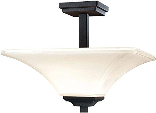 Minka Lavery Semi Flush Mount Ceiling Light 1816-66, Agilis Square Glass Lighting Fixture, 2 Light, 200 Watts, Black