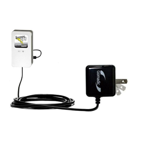 Gomadic Intelligent Compact AC Home Wall Charger suitable for the GPS Spark Nano Tracker - High output power with a convenient, foldable plug design - Uses TipExchange Technology