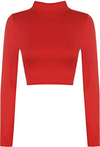 b776561fca7 WearAll Womens Turtle Neck Crop Long Sleeve Plain Polo Short Stretch Top -  Red - 4