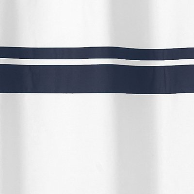 Sweet Jojo Designs White and Navy Hotel Kids Bathroom Fabric Bath Shower Curtain