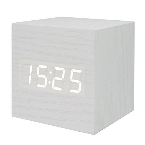 GO HAND Wood LED Alarm Clock Desktop Mute Electronic Digital Temperature Time Date Calendar Snooze Clock With Sound Control Function (White Wood White (Soft White Learning Tower)