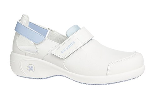 Oxypas Move Up Salma Slip-resistant, Antistatic Nursing Shoes, White/Blue (Light Blue), 3.5 UK (36 EU)