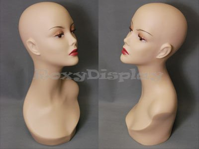 (ROXY DISPLAY Realistic Female Mannequin Head Flesh Tone Pretty Make-up(TINAF3-MD))