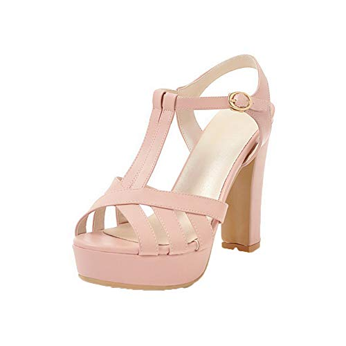 VogueZone009 Women High-Heels Solid Buckle Pu Open-Toe Sandals, CCALP014979 Pink