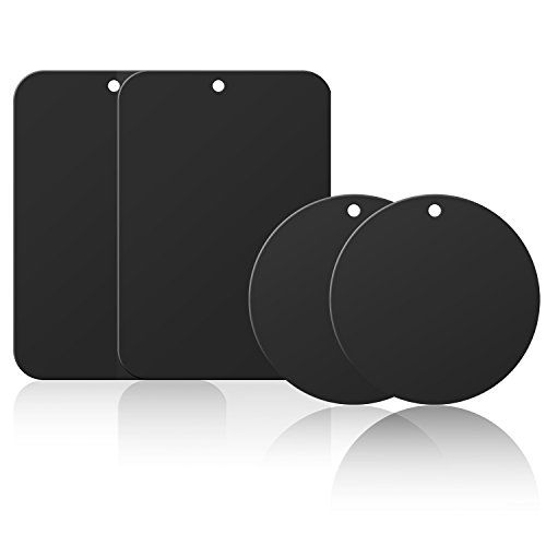 Mount Metal Plate, Getron 4 Pack Universal Replacement Mount Metal Plate Kit with 3M Adhesive for Magnetic Car Mount Cell Phone Holder, 2 Rectangular and 2 Round - Black - Metal Magic Holder