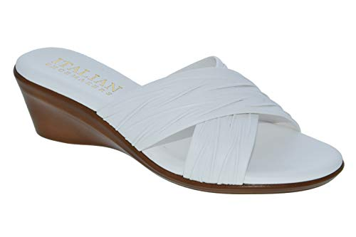ITALIAN Shoemakers Womens Kenny Criss Cross Fashion Wedge Sandals Made in Italy,White,7.5