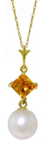 14k Gold Necklace with Natural Citrine and Freshwater Pearl