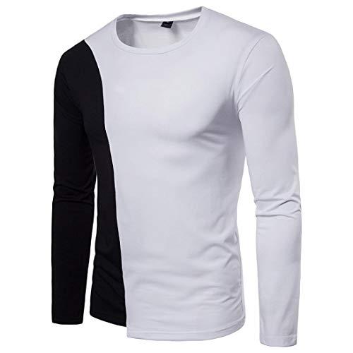 kaifongfu Men's Stitching Slim Long Sleeve T-Shirt O-Neck Blouse Pollover TopWhiteM
