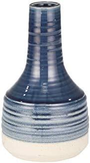 Sagebrook Home 14031-06 Ceramic Genie Vase 10 , Navy, 5.5 L x 5.5 W x 10 H, Blue and White