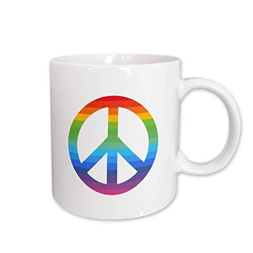 3dRose Cassie Peters Digital Art - Rainbow Peace Sign - 11oz Two-Tone Green Mug (mug_314199_7)