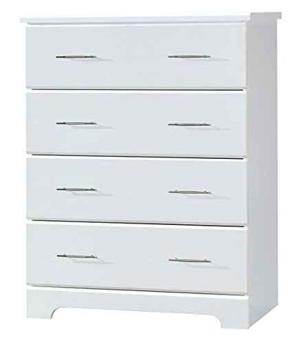 Storkcraft Brookside 4 Drawer Chest, White, Kids Bedroom Dresser with 4 Drawers, Wood and Composite Construction, Ideal for Nursery Toddlers Room Kids Room