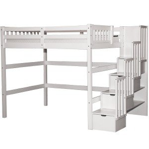 (SCANICA Stairway Full Loft Bed with Storage White)
