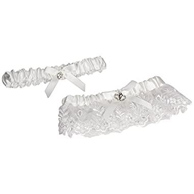 Darice VL5863, Lace Heart Accent Adjust Garter with Toss Away, White