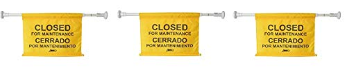 "Janico 1076 Closed for Maintenance Safety Sign, Expands up to 52"", Bilingual, Yellow (3-(Pack))"