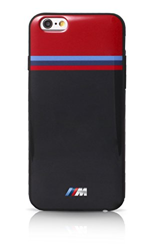 BMW M Carbon Inspiration Coque pour iPhone 6/6S Motif Bandes Horizontales Noir Rouge