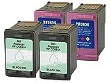 4 x HP No 901 Black and Color Remanufactured Ink Cartridges (2 black, 2 color) for use with HP OfficeJet J4540 J4550 J4580 J4680 J4680c, Office Central