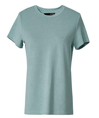 ROEYSHOUSE Women's Short Sleeve Vintage Wash Crewneck T-Shirt Stretchable Top Green, Medium