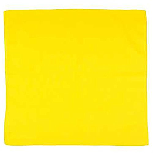 Set of 12 Solid 100% Polyester Unisex Bandanas  One Dozen, 22 in, Yellow
