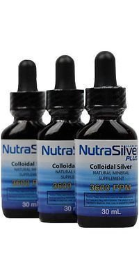 NutraSilver Plus Colloidal Silver Kills Harmful Germs Quickly Safe & Natural Anti-Microbial l 3,600 PPM Tested Highest Quality New Eye Dropper (3-Pack 30ml Bottles)
