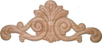 Veneered Oak Decorative Scroll Ornament Applique - 7-7/8