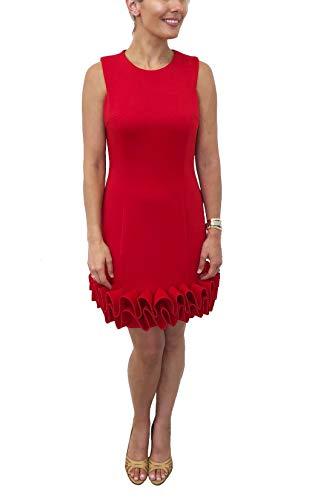 Donna Ricco Ruffle Hem Sleeveless Dress, Red, 14