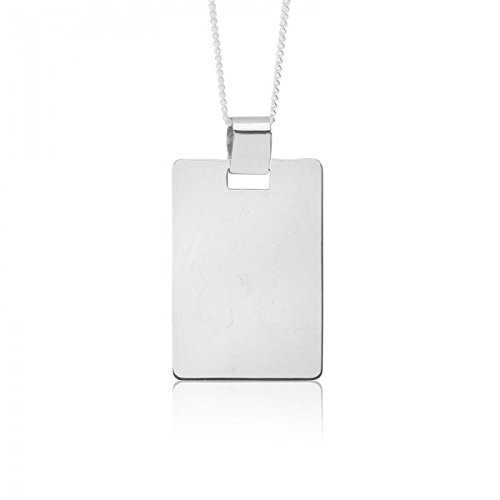 19x28mm 10K White Gold Curved Corner Rectangle Dog Tag