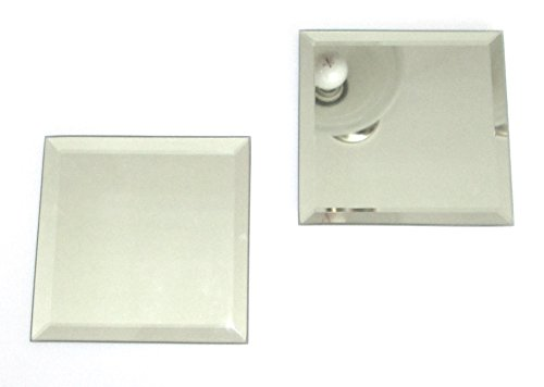 Odyssey Online Beveled Mirror 2 Pack, 4 Inch Square, Glass Coaster with Pads on Back
