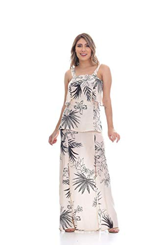 Vestido Clara Aruda Longo Recortes 50401 - G - Floral Bege