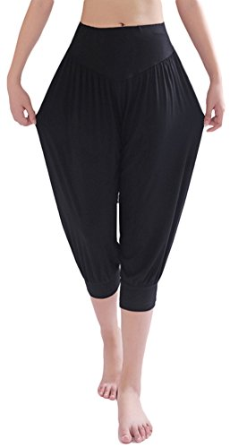 AvaCostume Modal Cotton Soft Yoga Sports Dance Harem Capri Pants, M, Black
