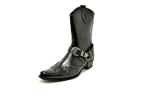 Leather Chain Cowboy Guciani Black H2 Riding Buckle Western Belt Boots Mens wA6v7Aq0