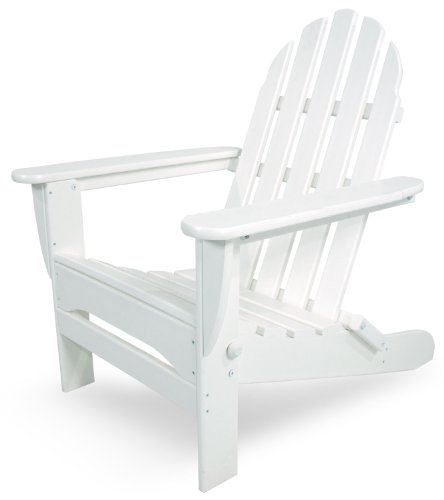 POLYWOOD AD5030WH Classic Folding Adirondack, White (Lumber Recycled Chair Folding Poly)