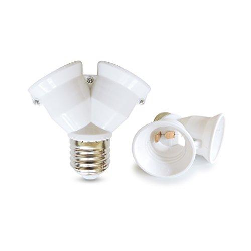 AspenTek Fireproof Material E27 to 2 E27 Lamp Holder Converter Socket Led Light Bulb Base Type E26 to 2 E26 Splitter Adapter (2 PCS E27 to Dual E27)