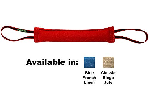 Viper Synthetic K9 Tug Toy Reward with Two Handles for Adult Dogs and Puppies. Ruberized Handles - Red, 16