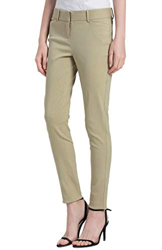 - SATINATO Women's Straight Pants Stretch Slim Skinny Solid Trousers Casual Business Office (0 Regular, Khaki Beige)