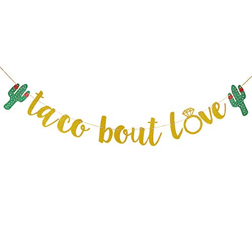 (Gold Glittery Taco Bout Love Cactus Banner- Bachelorette Wedding Party Mexican Fiesta Theme Party)