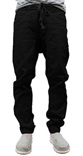Victorious Mens Twill Jogger Pants (3XL, Black) by Victorious
