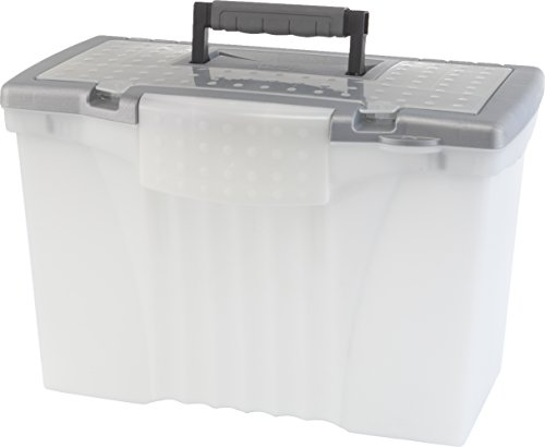 Storex Portable File Box with Organizer Lid, 17.13 x 9.63 x 11 Inches, Clear/Silver (Clear Case Legal)