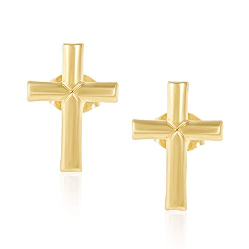 (14KT Yellow Gold Children's and Baby Girls Cross Stud Earrings - Charming with Secure Screw Back Safety Closure)