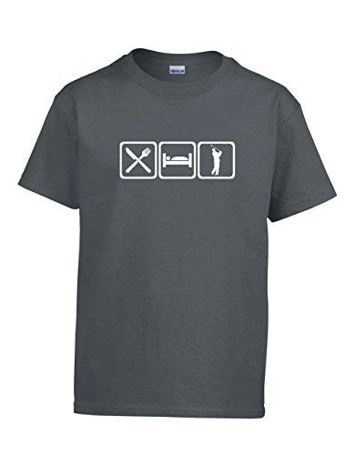 ShirtLoco Boys Eat Sleep Golf Youth T-Shirt, Charcoal Extra Large
