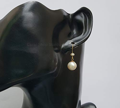 14k Gold White Pearl Earrings, Simple Gold Pearl Earrings, Solid Gold Dangle Earrings *Exp Shipping