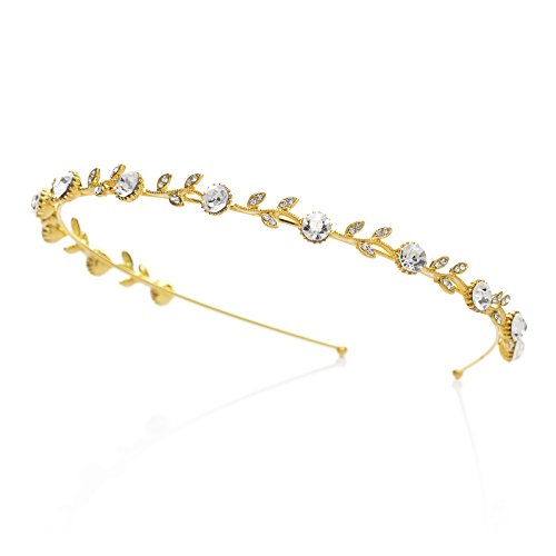 SWEETV Crystal Hair Band for Women Rhinestone Headband Tiara Wedding Hair Accessories