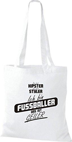 Shirtstown Stoffbeutel du bist hipster du bist styler ich bin Fussballer das ist geiler weiss 3sKfV0XQA